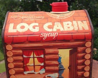 100th Anniversary Log Cabin Syrup Tin Vintage Decor