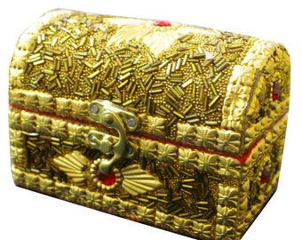 Decorative Box Indian Home Decor Goldtone Bridal Box Beaded Material Crafted Sandook Box Gift For Her Accessories Box Christmas Gift