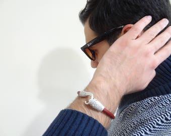 EXPRESS SHIPPING,Snake Skin Bracelet,Burgundy Leather Bracelet,Men's Jewelry,Snake Bracelet,Gifts for Boyfriend,Father's Day Gifts