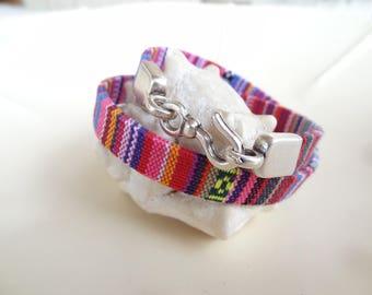 EXPRESS SHIPPING,Wrap Rainbow Cotton Bracelet,Wrap Boho Bracelet,Antique Fishhook Bracelet,Unisex Bracelet, Ethnic Bracelet, Gift for Him