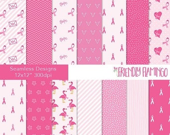 SALE Breast cancer digital paper pack, pink, charity, support, ribbon awareness backgrounds (PP034)