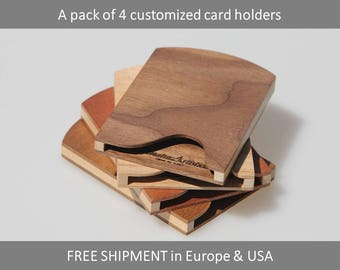 Gift for him, Gift for her, Personalized gift, Business card holder, Wooden card holder, Wood card case, credit card holder, wooden wallet.