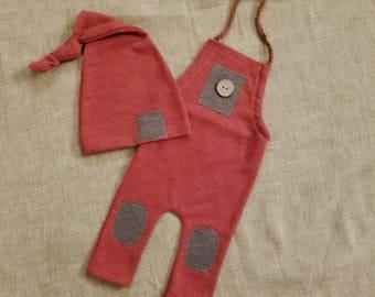 newborn autumn romper with sleepy hat, baby boy, baby romper, photo prop, boy romper, newborn sleepy hat, newborn overalls, fall photo props