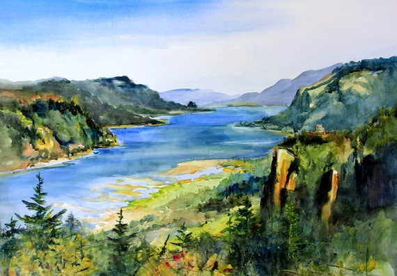 Columbia Gorge 348 - signed print of a watercolor painted by Bonnie White