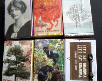 Set of Six Literary Book Themed Altered Matchboxes Funny and Serious
