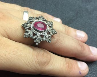 Ruby Ring,Ruby and Diamond Victorian Ring,Victorian Ring,Cocktail Ring,Ruby Gemstone,Ruby Engagement Ring,Ruby Victorian Ring,Victorian Ring