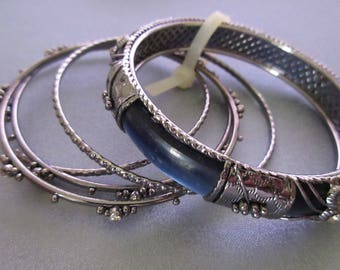 5 Pieces Stackable Bangle Silver Plated Bracelet