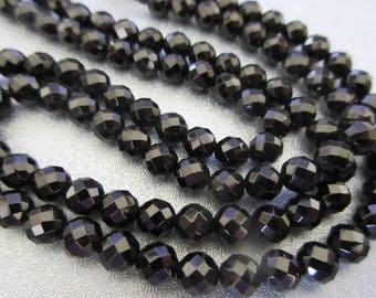 Black Onyx 6mm Faceted Round Beads 65pcs