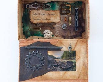 Assemblage Cigar Box - Assemblage Art - Mixed Media - Nature