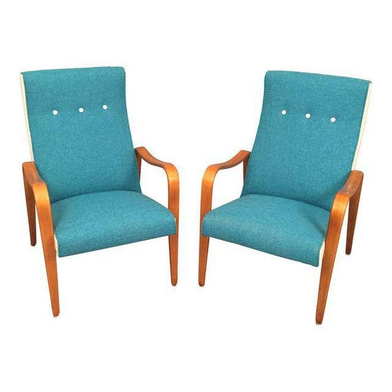 Pair of Thonet Bentwood lounge chairs completely restored