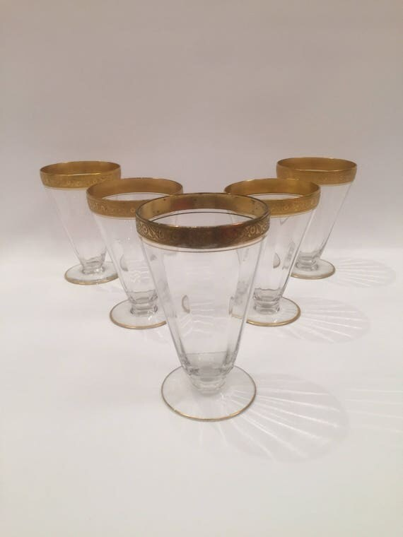Set of 5 crystal cocktail glass with 14K gold trim on the top and base