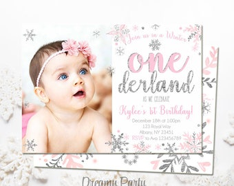 "Winter Onederland Invitation, Pink and Silver first birthday invitation,5""x7"" Winter onederland Birthday, Digital File. W203"