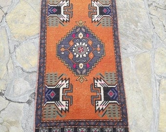 "1'7"" x 3'5"" Feet Small Oushak Rug Mat Rug Doormat Rug Area Rug Vintage Turkish Rug Oriental Hand Knotted Rug Kitchen Rug Free Shipping !"