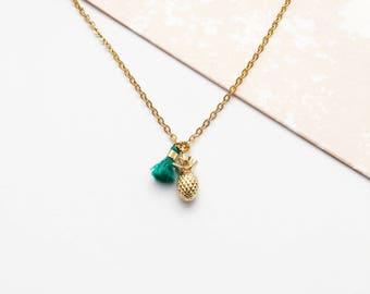 Pineapple charm necklace, tiny Pineapple pendant, green tassel, gold charm necklace, gold pineapple, Pineapple gift, Pineapple jewellery