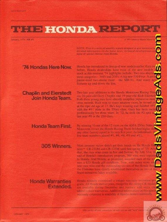 1974 Honda Report #1 January Motorcycle Ad #e74aa12