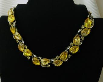 Lemon Yellow Jelly Leaf Necklace Lisner