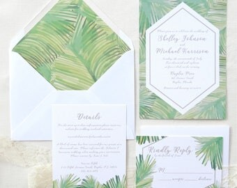 Destination Beach Wedding Invitation Suite -  Florida Ocean Tropical Wedding - Destination Invitations - Green Palm Fronds
