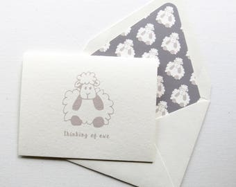 Thinking of Ewe - Thinking of You | Just Because | Sympathy Greeting Card - Grey Lamb