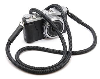 Handmade Silky Black Braided Cord / Rope & Leather Camera Neck Strap
