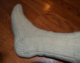 Organic natural 100% hand knitted sheep wool socks