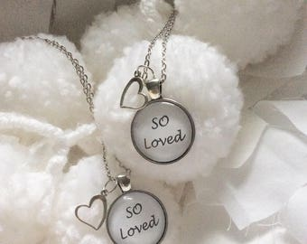 Handcrafted Vintage-Style Quote Necklace - SO LOVED -word jewelry, quote jewelry, verse jewelry, custom