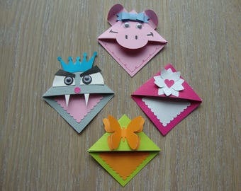 Set of funny bookmark for children