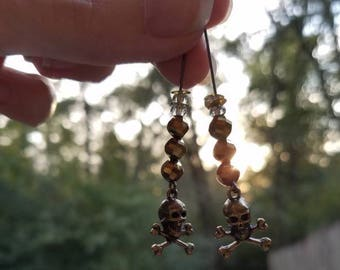 Graveyard Glam/Cemetary Chic/Pampered Pirate/Silver Scream inspired bronze Jolly Roger and gold shimmer beads straight drop earrings