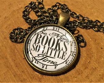 SO MANY BOOKS So Little Time Book Pendant Book Jewelry Quote Pendant Book Necklace Reader Gift