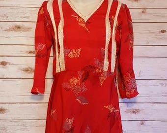 Vintage, 1970's, red abstract leaf print slip dress/ midi sleeves/ full skirt/ Small