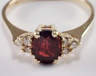 14k Yellow Gold Garnet and Diamond Ring