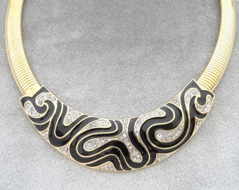 Vtg Trifari Necklace Jet Black Enamel Clear Rhinestone Slinky Modern Abstract Collar Necklace