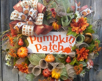 Fall wreath, pumpkin patch wreath, Autumn wreath, pumpkin wreath, thanksgiving wreath, fall door, fall floral Wreath, Halloween wreath