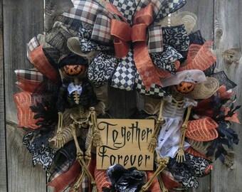 Halloween wreath, skeleton wreath, pumpkin head wreath, bride and groom skeleton wreath, Halloween together forever wreath