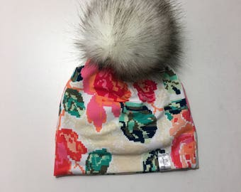 2-3 years fake fur pompon hat