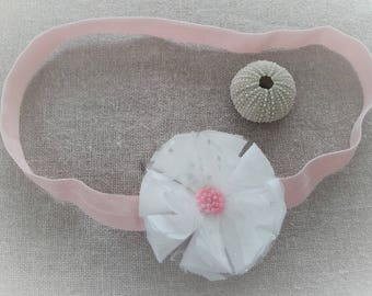 Headband white flower on elastic - ninette barrettes