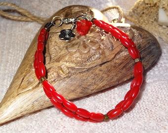 Coral bracelet double row
