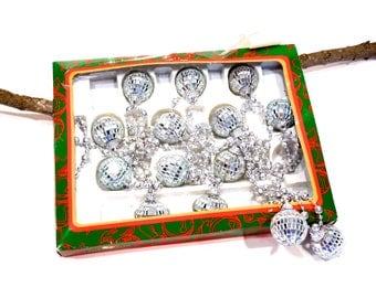 VINTAGE: Kurt Adler Silver Mosaic Mirror Garland in Box - Disco Ball Garland  - Glass Garland - T J Max - SKU Tub-607-00008997