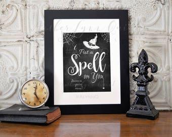 Hocus Pocus Chalkboard Printable I Put a Spell on You - Halloween Hocu Pocu Decor Sign