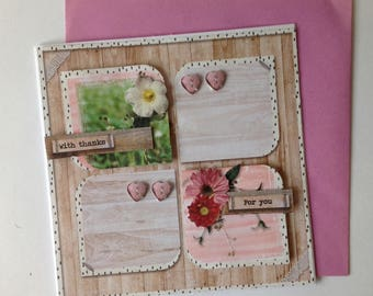 Handmade card, 3D flowers, all occasions