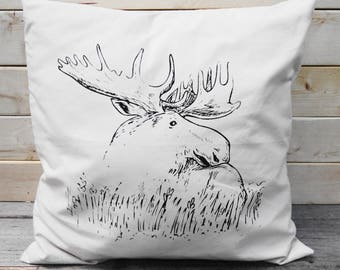 "Moose Pillow Cover, Decorative Pillow Cover 16"" x16"""