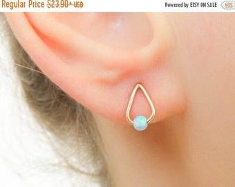 SALE - Opal Earrings Studs - Gold Opal Earrings - Drop studs and opal bead - Dainty Tear drop earrings