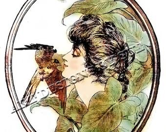 Vintage Art poster, vintage illustration, vintage poster, newspaper poster, spring,bird,victorian woman, J A Cahill,Spring Greeting poster