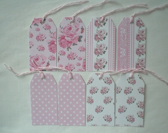 Eight labels matching shabby pink