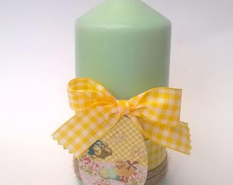 Candle light green Easter yellow gingham, 13 cm