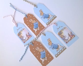 6 labels Easter bunnies, sky blue and chocolate, matching ties
