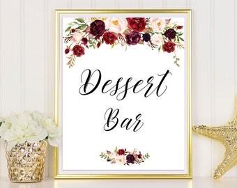 Dessert Table Sign, Dessert Bar Printable, Dessert Bar Sign, Wedding Sign, Burgundy Wedding Sign, Dessert Table Decor, Marsala Dessert Bar