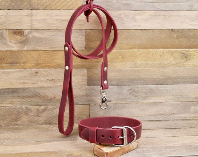 Collar and leash set, Personalised tag, Burgundy color, Handmade leather collar, Silver hardware, FREE ID TAG, Leather leash