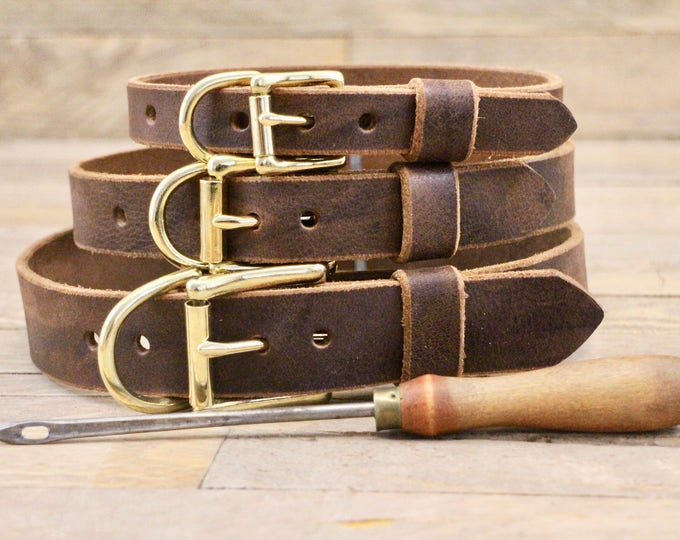 Classic dog collar, Premium dog collar, Dog collar, FREE ID TAG, Dark coffee, Dark brown collar, Solid brass, Handmade collar, Brown