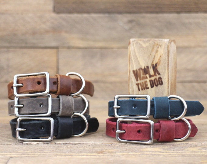 Leather collar, FREE personalisation, 5/8'' width collar, Burgundy dog collar, Light hardware, Silver hardware, Small dogs, Xsmall collars.