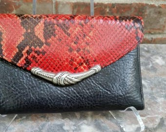 Brighton Red & Black Leather Wallet Clutch Bag Excellent condition